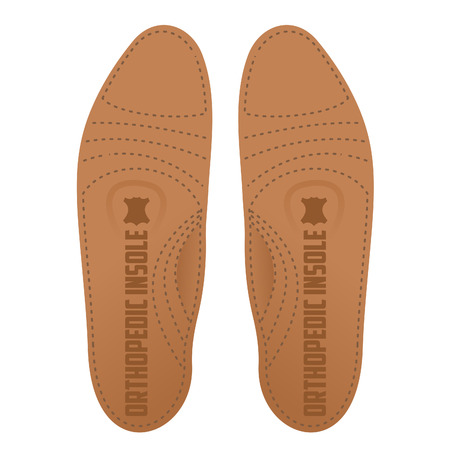 genuine leather: Flat Vector illustration of the right and left orthopedic insole is made of genuine leather