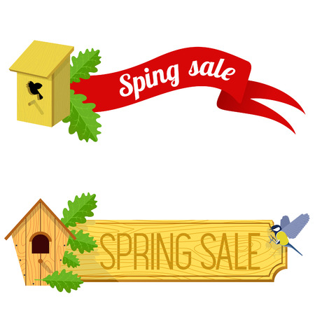 starling: spring sale banner vector illustration with starling house, a wooden board, ribbon and tit