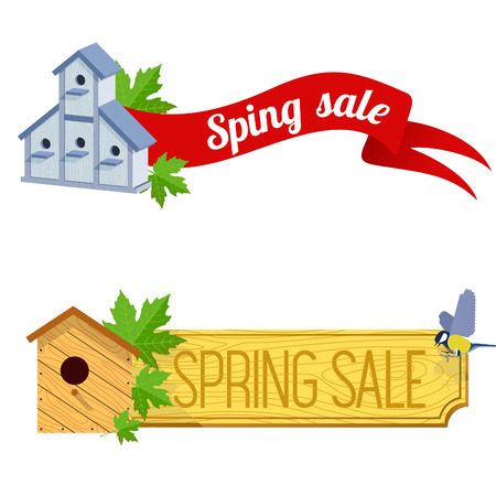house clearance: spring sale banner vector illustration with starling house, a wooden board, ribbon and tit