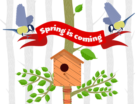 poplar: Spring vector card with poplar, poplar leaves, bird houses and bird titmouse