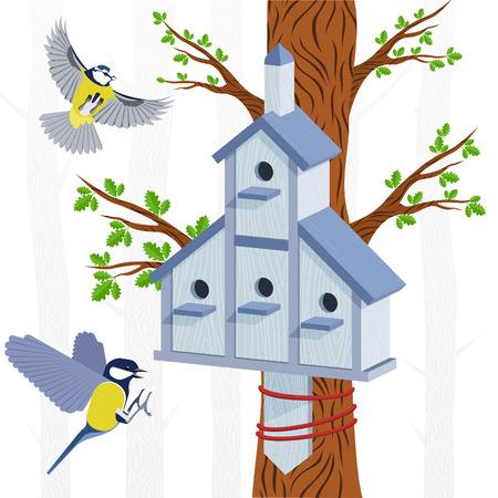 titmouse: Spring vector card with oak, oak leaves, bird houses and bird titmouse