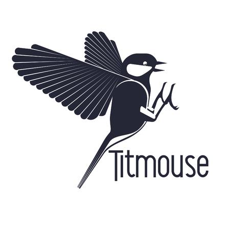 titmouse: Bird titmouse logo, label, element