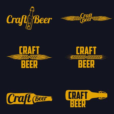 Vintage ambachtelijke bierbrouwerij, bar, winkel emblemen en etiketten