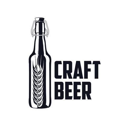 Vintage craft beer brewery, bar, shop emblems and  labels Illustration