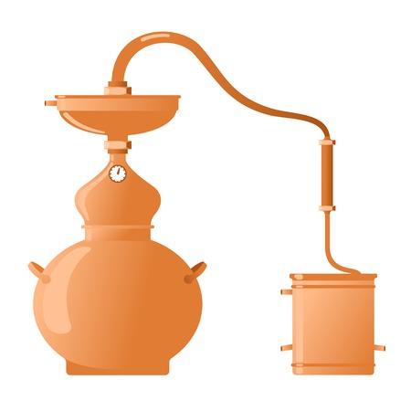 destilacion: El aparato de destilaci�n para la producci�n de whisky, alcohol ilegal, el alcohol y el vodka - Alambik cobre. Ilustraci�n plana. Aislado en un fondo blanco.
