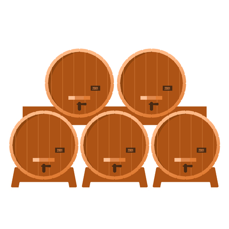 brandy: Shelving in the cellar with oak barrel seasoned with alcohol - whiskey, brandy, calvados, wine. flat  Illustration.  Isolated on a white background Illustration