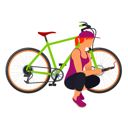 bicycle pump: The woman shakes pump bicycle tire. flat  Illustration.  Isolated on a white background Illustration