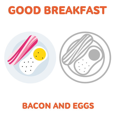 sizzle: Vector flat and line icon bacon and fried eggs. Branding Identity Corporate logo design template, web design, web icon, food menu. Isolated on a white background