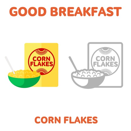 cereal bowl: Vector flat and line icon packing box cereal and a bowl of cereal and milk. Good and healthy breakfast, diet food. Web design, web icon, food menu. Isolated on a white background