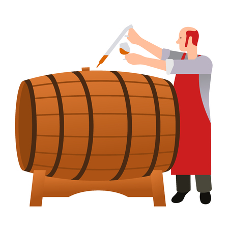 moonshine: Master gains a sample of oak barrels for aging tasting, castles and taste whiskey, brandy, calvados, wine. Vector flat  Illustration.  Web design, web icon, food menu. Isolated on a white background. Illustration