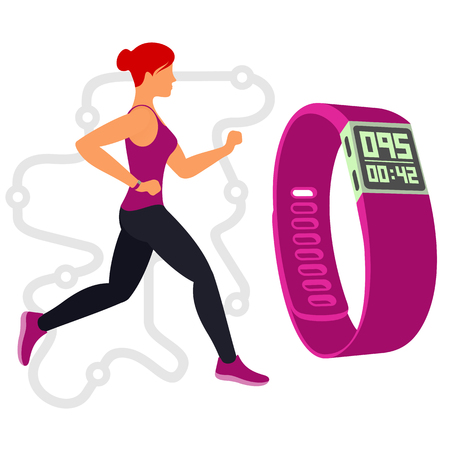 redhair: Vector flat image female runner  on the background of the Itinerary and fitness tracker. Branding Identity Corporate logo design template, web design, web icon. Isolated on a white background Illustration