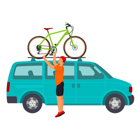 minivan: Man installs bike on the roof of a minivan. Traveling by bicycle. Vector flat  Illustration. Web graphics, banners, advertisements, infographics, business templates Isolated on a white background.
