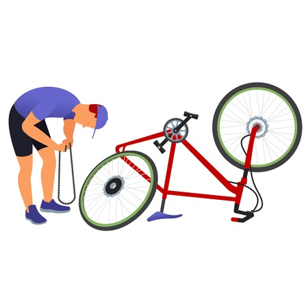 skim: Man repairing a bicycle chain near the inverted bicycle wheel with skim.  Vector flat  Illustration. Web graphics, banners, advertisements, business templates.  Isolated on a white background.