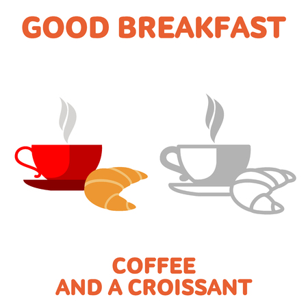 stimulant: Vector flat and line icon cup of coffee and a croissant. Fresh and healthy breakfast, diet food. Web design, web icon, food menu. Isolated on a white background