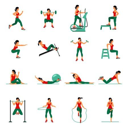 Fitness, aeróbic y ejercicios de entrenamiento en el gimnasio. Vector conjunto de iconos de gimnasio en el estilo plano aislado en el fondo blanco. La gente en el gimnasio. equipo de gimnasio, mancuernas, pesas, cinta de correr, bola. Ilustración de vector