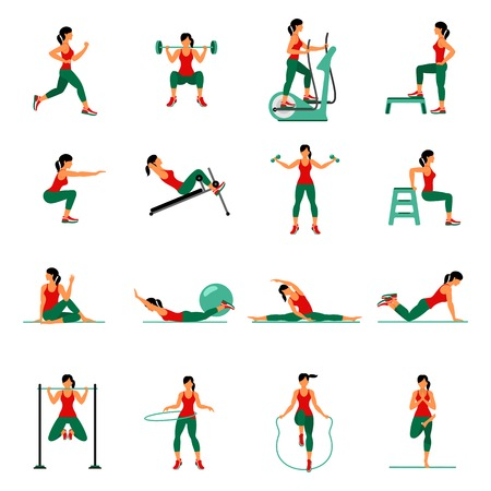 Fitness, Aerobic  and workout exercise in gym. Vector set of gym icons in flat style isolated on white background. People in gym. Gym equipment, dumbbell, weights, treadmill, ball. Vettoriali