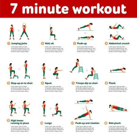 7 Minuten Training. Fitness, Aerobic und Workout-Übung in der Turnhalle. Vector Reihe von Fitness-Studio-Icons in flachen Stil auf weißem Hintergrund. Leute in der Gymnastik. Fitnessgeräte, Hantel, Gewichte, Laufband, Ball.
