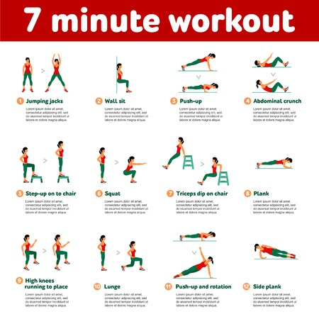 7 minute workout. Fitness, Aerobic  and workout exercise in gym. Vector set of gym icons in flat style isolated on white background. People in gym. Gym equipment, dumbbell, weights, treadmill, ball. Vettoriali