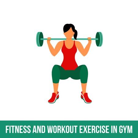 Fitness, aerobic en workout oefening in de sportschool. Vector set van gym pictogrammen in vlakke stijl op een witte achtergrond. Mensen die in gymnastiek. Fitnessapparatuur, halter, gewichten, tredmolen, bal.