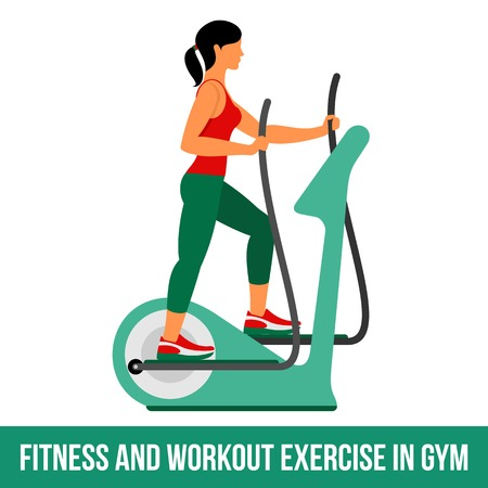 aerobic: Fitness, Aerobic  and workout exercise in gym. Vector set of gym icons in flat style isolated on white background. People in gym. Gym equipment, dumbbell, weights, treadmill, ball. Illustration