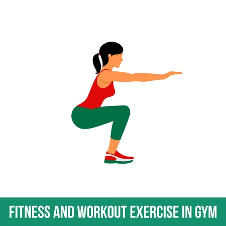 Fitness, aeróbic y ejercicios de entrenamiento en el gimnasio. Vector conjunto de iconos de gimnasio en el estilo plano aislado en el fondo blanco. La gente en el gimnasio. equipo de gimnasio, mancuernas, pesas, cinta de correr, bola.