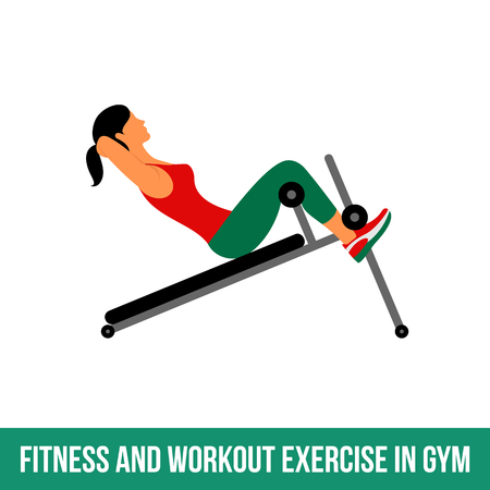 Fitness, Aerobic  and workout exercise in gym. Vector set of gym icons in flat style isolated on white background. People in gym. Gym equipment, dumbbell, weights, treadmill, ball. Çizim