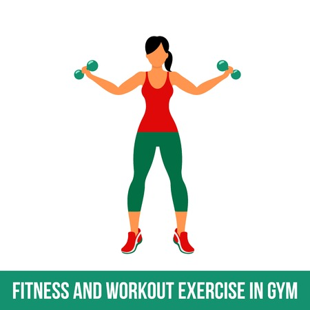 Fitness, Aerobic  and workout exercise in gym. Vector set of gym icons in flat style isolated on white background. People in gym. Gym equipment, dumbbell, weights, treadmill, ball. 矢量图像