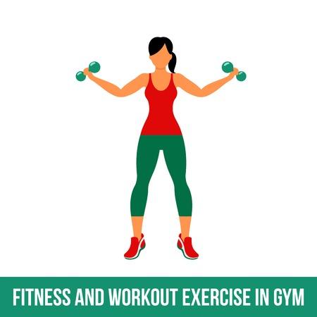 Fitness, aerobic en workout oefening in de sportschool. Vector set van gym pictogrammen in vlakke stijl op een witte achtergrond. Mensen die in gymnastiek. Fitnessapparatuur, halter, gewichten, tredmolen, bal. Vector Illustratie