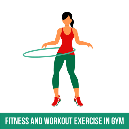Fitness, Aerobic  and workout exercise in gym. Vector set of gym icons in flat style isolated on white background. People in gym. Gym equipment, dumbbell, weights, treadmill, ball. Ilustracja