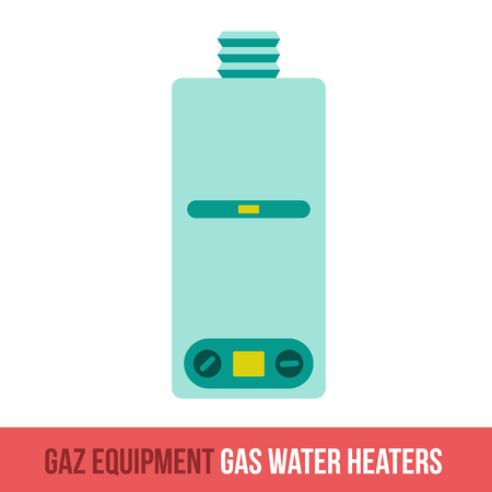 gas tap: Vector flat icon gas equipment for the kitchen, bathroom and heating. Water heater. Locksmith tool. Brochures, advertisements, manuals, technical descriptions. Isolated on a white background.