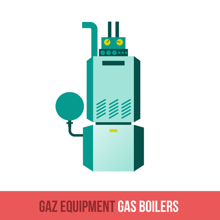 gas boiler: Vector flat icon gas equipment for the kitchen, bathroom and heating. Gas boiler. Locksmith tool. Booklets, brochures, advertisements, manuals, technical descriptions. Isolated on a white background.