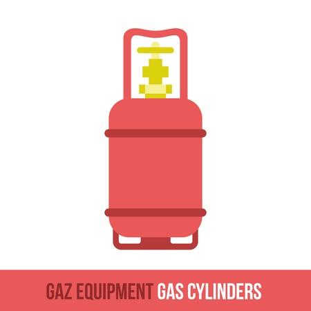 gas appliances: Vector flat icon gas equipment for the kitchen, bathroom and heating. Gas cylinders. Locksmith tool. Brochures, advertisements, manuals, technical descriptions. Isolated on a white background. Illustration
