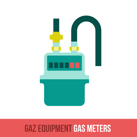 gas appliances: Vector flat icon gas equipment for the kitchen, bathroom and heating. Gas meters. Locksmith tool. Booklets, brochures, advertisements, manuals, technical descriptions. Isolated on a white background.