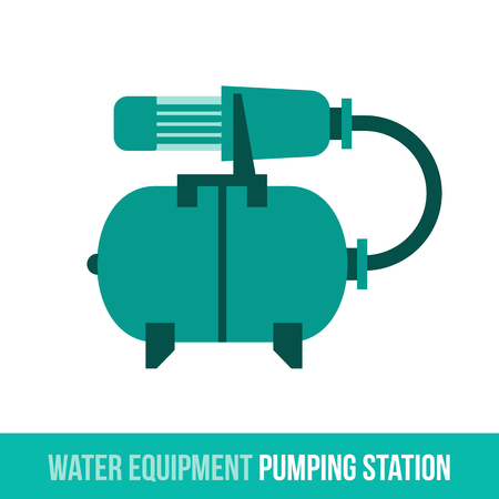 pumping: Vector flat icon water equipment and household appliances for bathroom, heating. Pumping station. Booklets, brochures, advertisements, manuals, technical descriptions. Isolated on a white background. Illustration