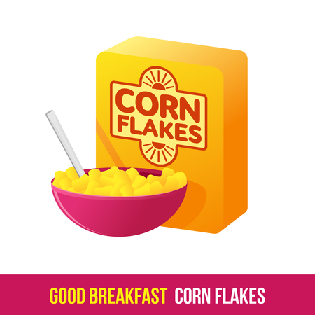 Vector flat icon packing box cereal and a bowl of cereal and milk. Fresh and healthy breakfast, diet food. Brochures, advertisements, web design, web icon, food menu. Isolated on a white background