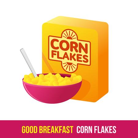 Vector icon plat boîte d'emballage des céréales et un bol de céréales et de lait. petit-déjeuner frais et sain, régime alimentaire. Brochures, publicités, conception de sites Web, icône, menu alimentaire. Isolé sur un fond blanc