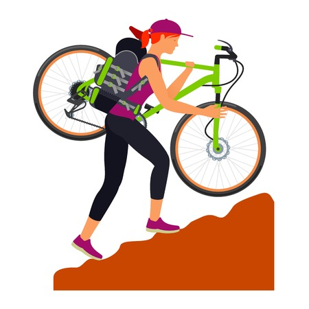 uphill: Woman climbs uphill and carries his bike on his shoulder. Traveling. Vector flat Illustration. Web graphics, banners, advertisements, brochures, business templates. Isolated on a white background