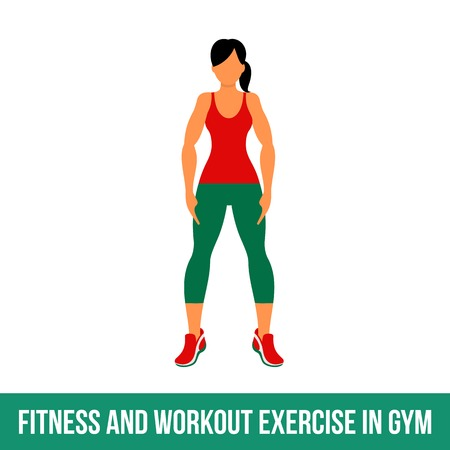 aerobic: Fitness, Aerobic and workout exercise in gym. Vector set of gym icons in flat style isolated on white background. woman in gym. Gym equipment, dumbbell, weights, treadmill, ball.