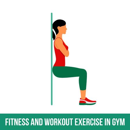 Fitness, Aerobic und Workout-Übung in der Turnhalle. Vector Reihe von Fitness-Studio-Icons in flachen Stil auf weißem Hintergrund. Frau in der Turnhalle. Fitnessgeräte, Hantel, Gewichte, Laufband, Ball.