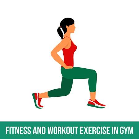 Fitness, aerobic en workout oefening in de sportschool. Vector set van gym pictogrammen in vlakke stijl op een witte achtergrond. vrouw in de gym. Fitnessapparatuur, halter, gewichten, tredmolen, bal.