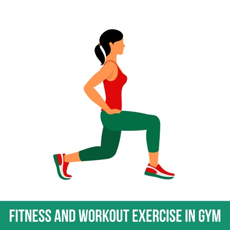 Fitness, Aerobic and workout exercise in gym. Vector set of gym icons in flat style isolated on white background. woman in gym. Gym equipment, dumbbell, weights, treadmill, ball.