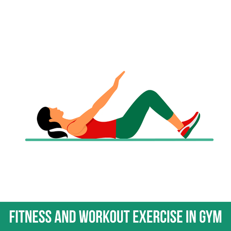 shaping: Fitness, Aerobic and workout exercise in gym. Vector set of gym icons in flat style isolated on white background. woman in gym. Gym equipment, dumbbell, weights, treadmill, ball.