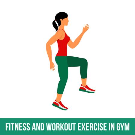 Fitness, Aerobic und Workout-Übung in der Turnhalle. Vector Reihe von Fitness-Studio-Icons in flachen Stil auf weißem Hintergrund. Frau in der Turnhalle. Fitnessgeräte, Hantel, Gewichte, Laufband, Ball. Vektorgrafik