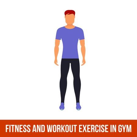 Fitness, aeróbic y ejercicios de entrenamiento en el gimnasio. Vector conjunto de iconos de gimnasio en el estilo plano aislado en el fondo blanco. El hombre en el gimnasio. equipo de gimnasio, mancuernas, pesas, cinta de correr, bola.