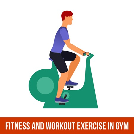 Fitness, Aerobic and workout exercise in gym. Vector set of gym icons in flat style isolated on white background. Man in gym. Gym equipment, dumbbell, weights, treadmill, ball.