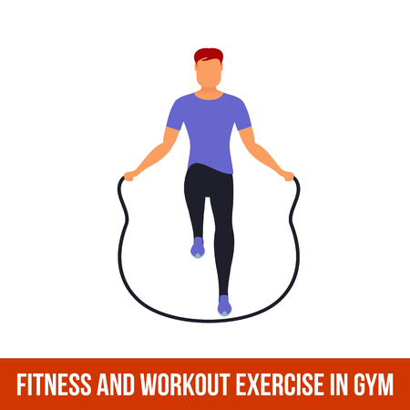 Fitness, Aerobic and workout exercise in gym. Vector set of gym icons in flat style isolated on white background. Man in gym. Gym equipment, dumbbell, weights, treadmill, ball. Stock Vector - 57109428