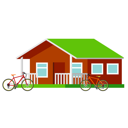 campsite: Forest campsite - Small house for tourists. Traveling by bicycle. Vector flat Illustration. Web graphics, banners, advertisements, business templates. Isolated on a white background. Illustration