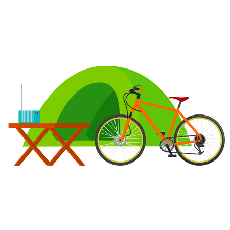 campsite: Forest campsite - small house for tourists. Traveling by bicycle. Vector flat Illustration. Web graphics, banners, advertisements, business templates. Isolated on a white background.