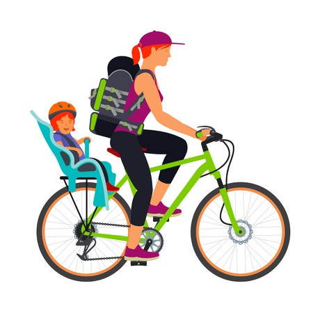 Woman and child in the chair traveling by bike. Vector flat Illustration. Web graphics, banners, advertisements, brochures, business templates. Isolated on a white background