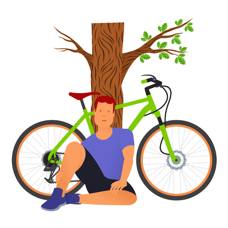 seated: Seated man rests from cycling, leaning against a tree trunkTraveling. Vector flat Illustration. Web graphics, banners, advertisements, brochures, business templates. Isolated on a white background Illustration
